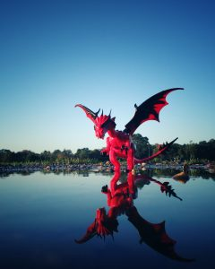 Lego dragon on the water's edge