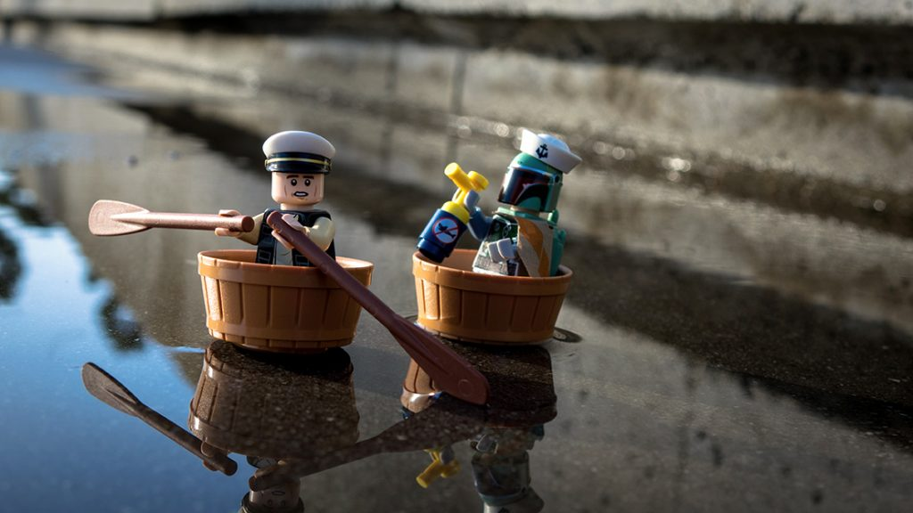 Star Wars: Lego Boba Fett chasing Han Solo in barrels on water