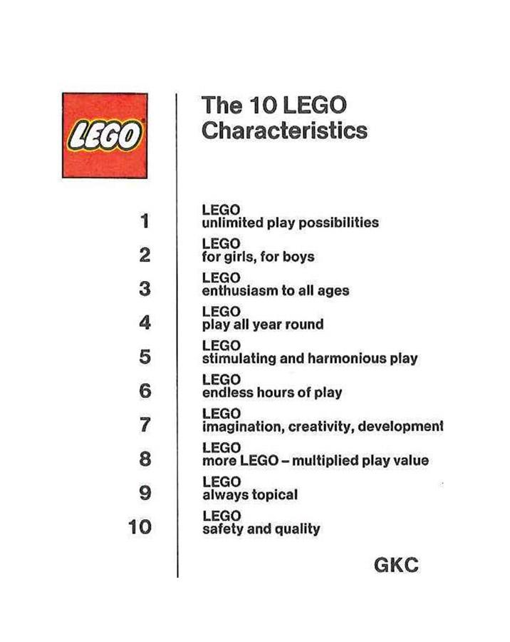 10 lego characteristics