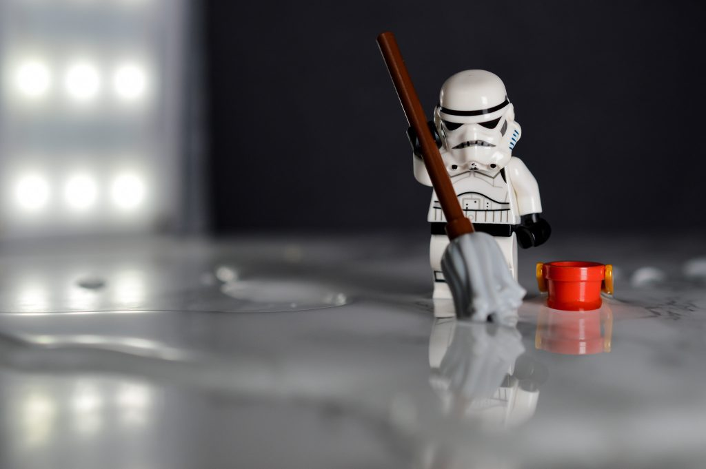 Stormtrooper cleaning floors