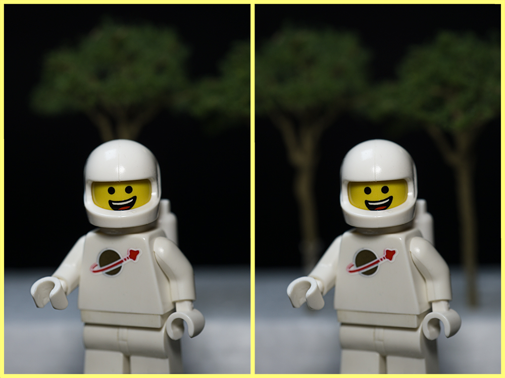 The same image of spaceman. One with a tree growing out of his helmet, the other without.