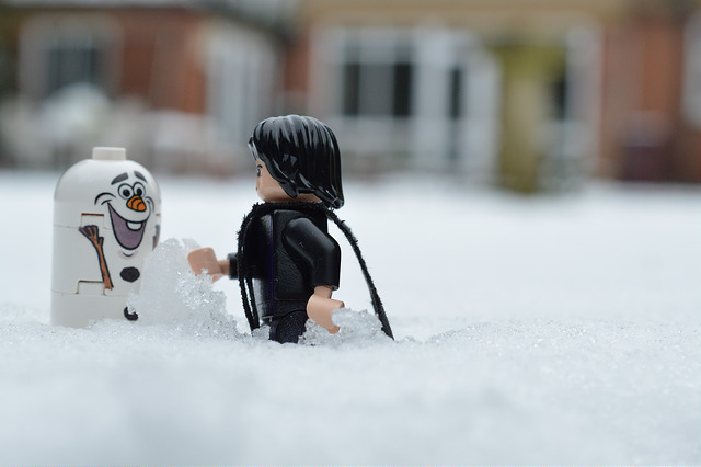 LEGO Snape and Olaf in the snow