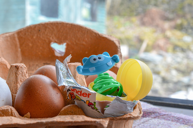 Kinder toy in an egg box