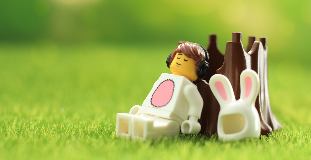 LEGO Easter bunny asleep listening to podcast by James Garcia