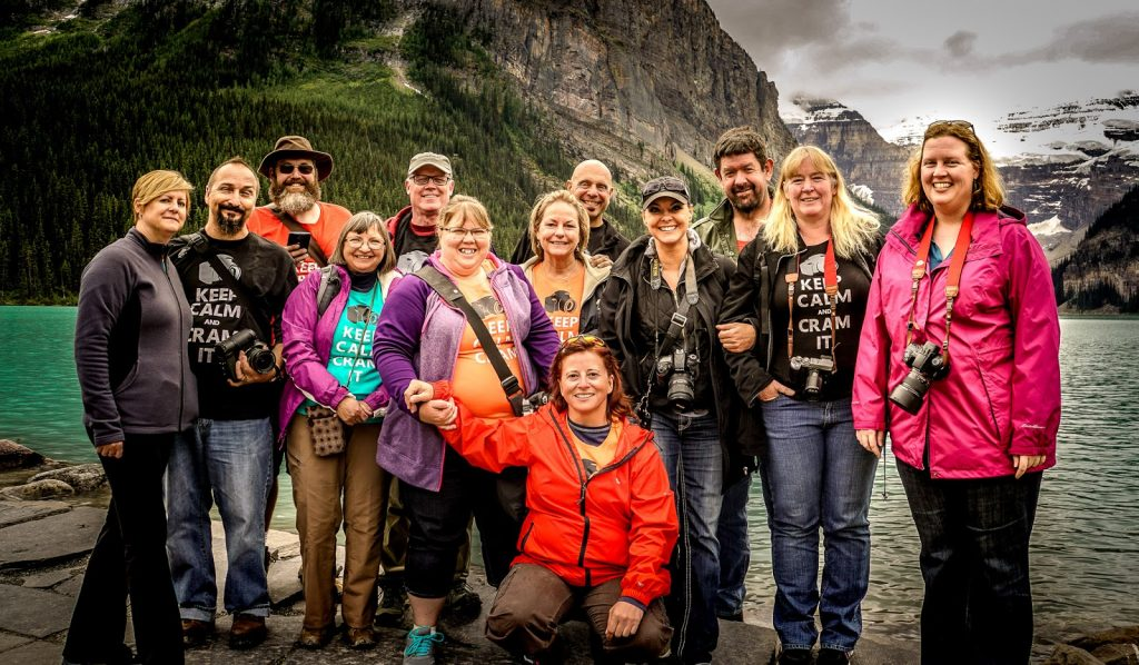 A bunch of scavengers at Lake Louise in Alberta Canada