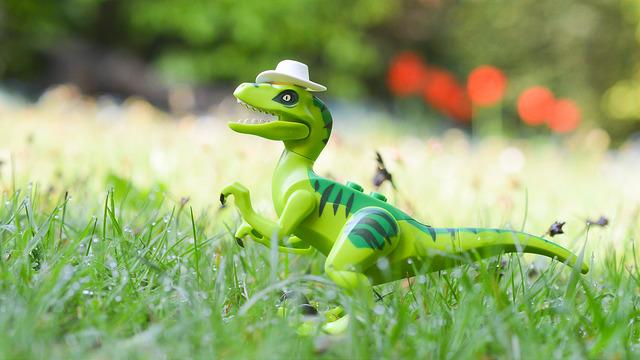 LEGO dinosaur wearing a cowboy hat