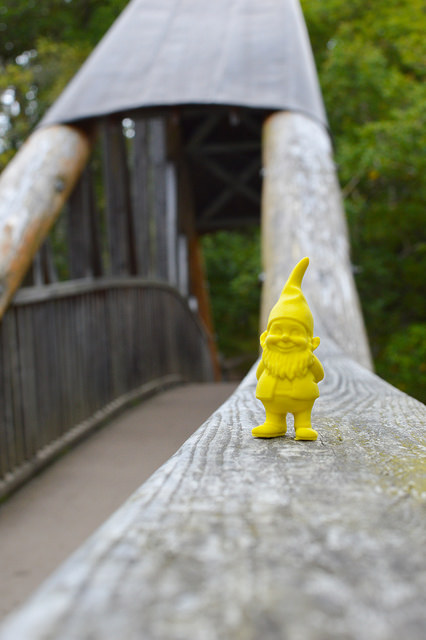 Rubber gnome on a bridge