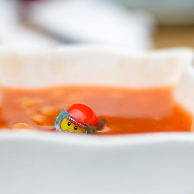 LEGO scuba diver in beans