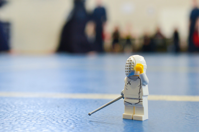 LEGO fencer at a Kendo tournament
