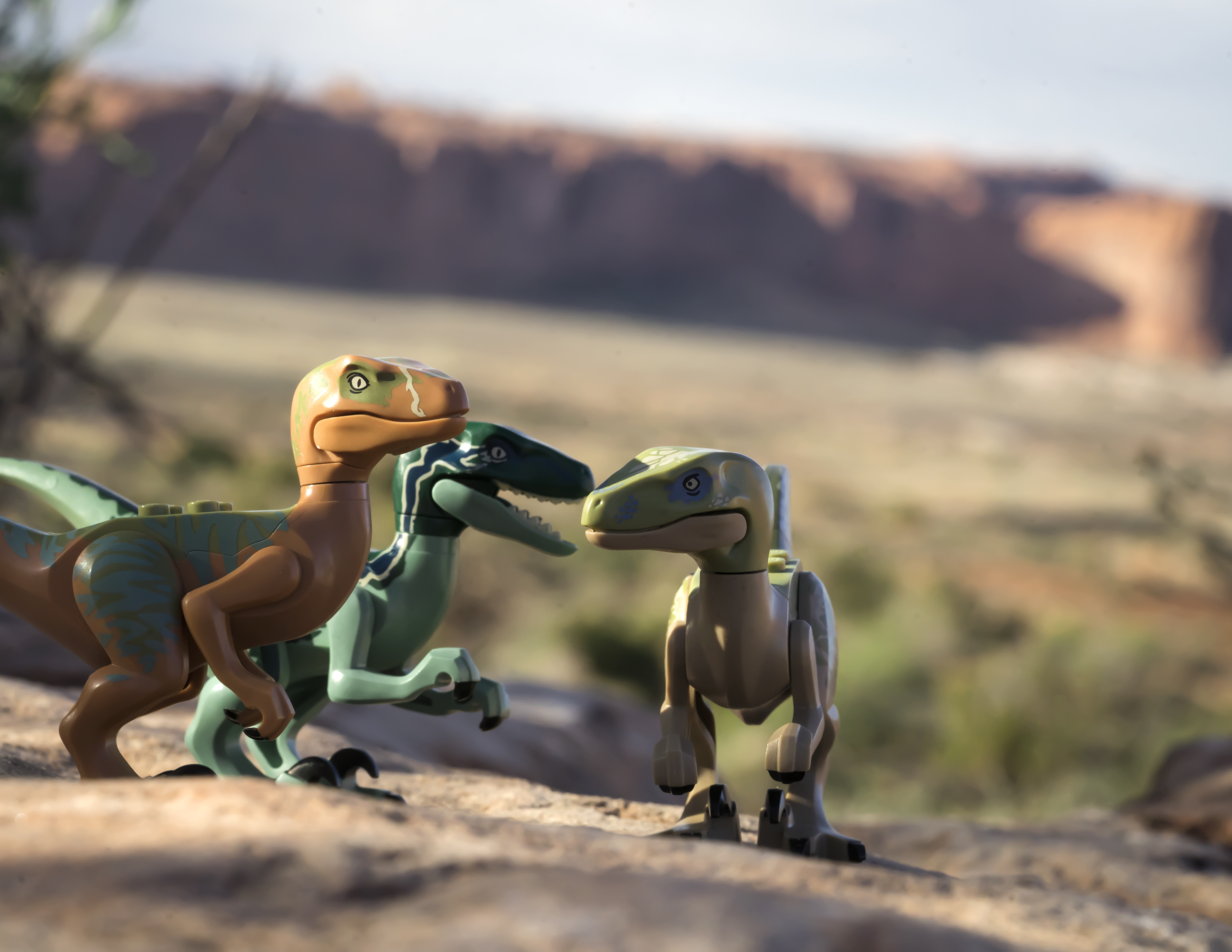 three lego raptors on a rocky outcrop with red rocks in the background.