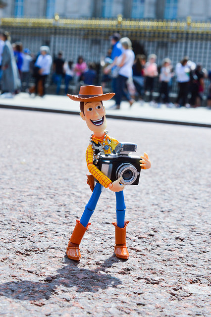 Woody with camera at Buckingham Palace