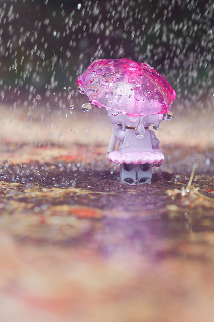 LEGO elephant with an umbrella