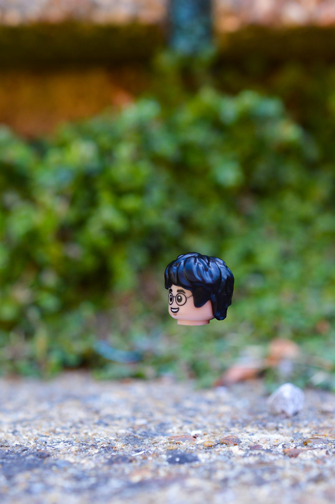 LEGO Harry Potter head, floating