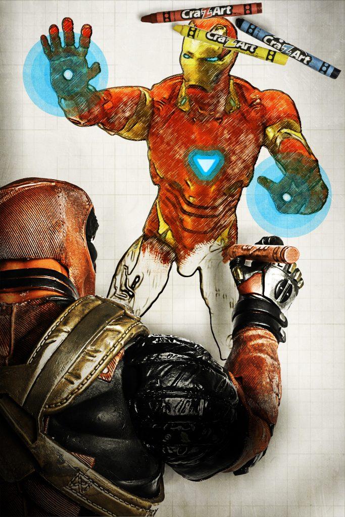 Deadpool drawing Iron Man