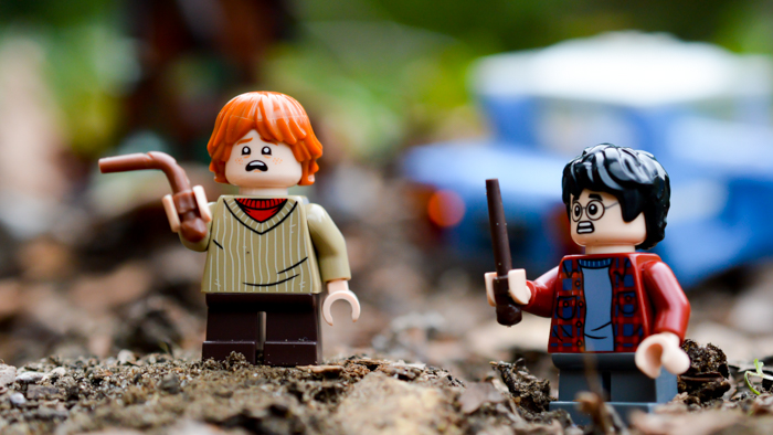 LEGO Ron and Harry after hitting Whomping Willow