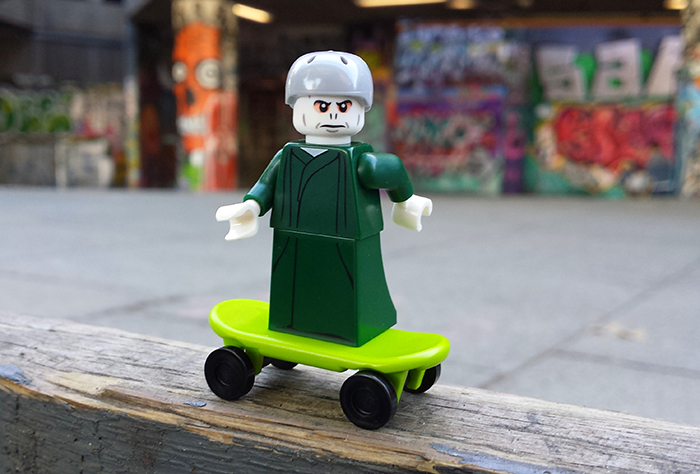 LEGO Voldemort on a skateboard