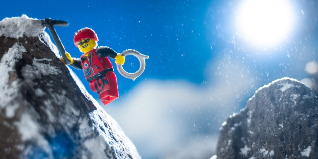 lego mountain climber minifigure toy photography by James Garcia