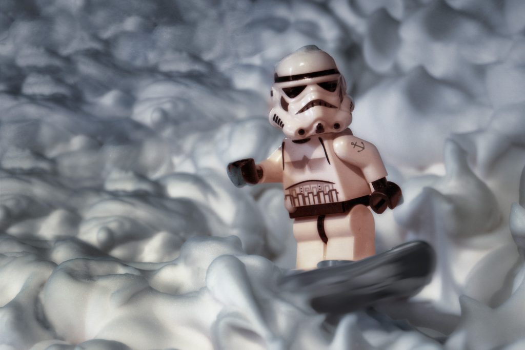 Stormtrooper surfing on a sea of foam