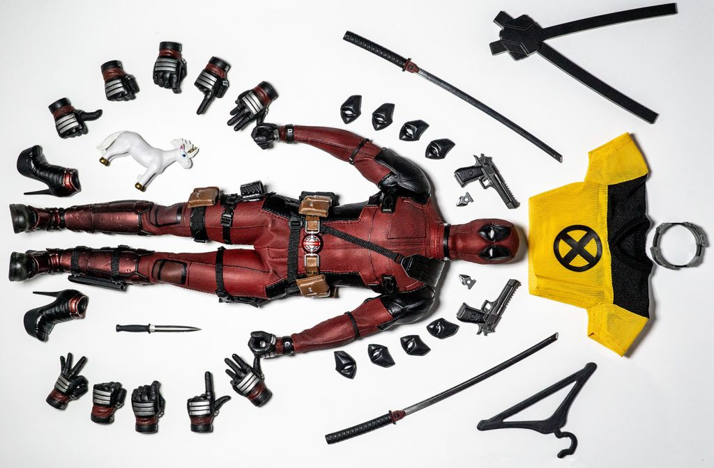 Deadpool and his accessories.
