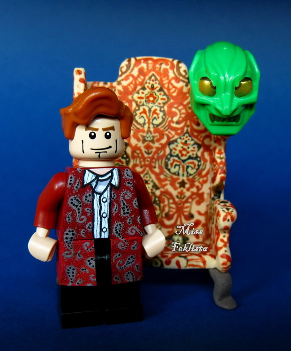 Norman Osborn with his armchair and the mask