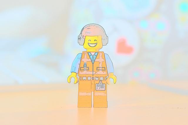 LEGO Emmet figure cartoonised on a camera