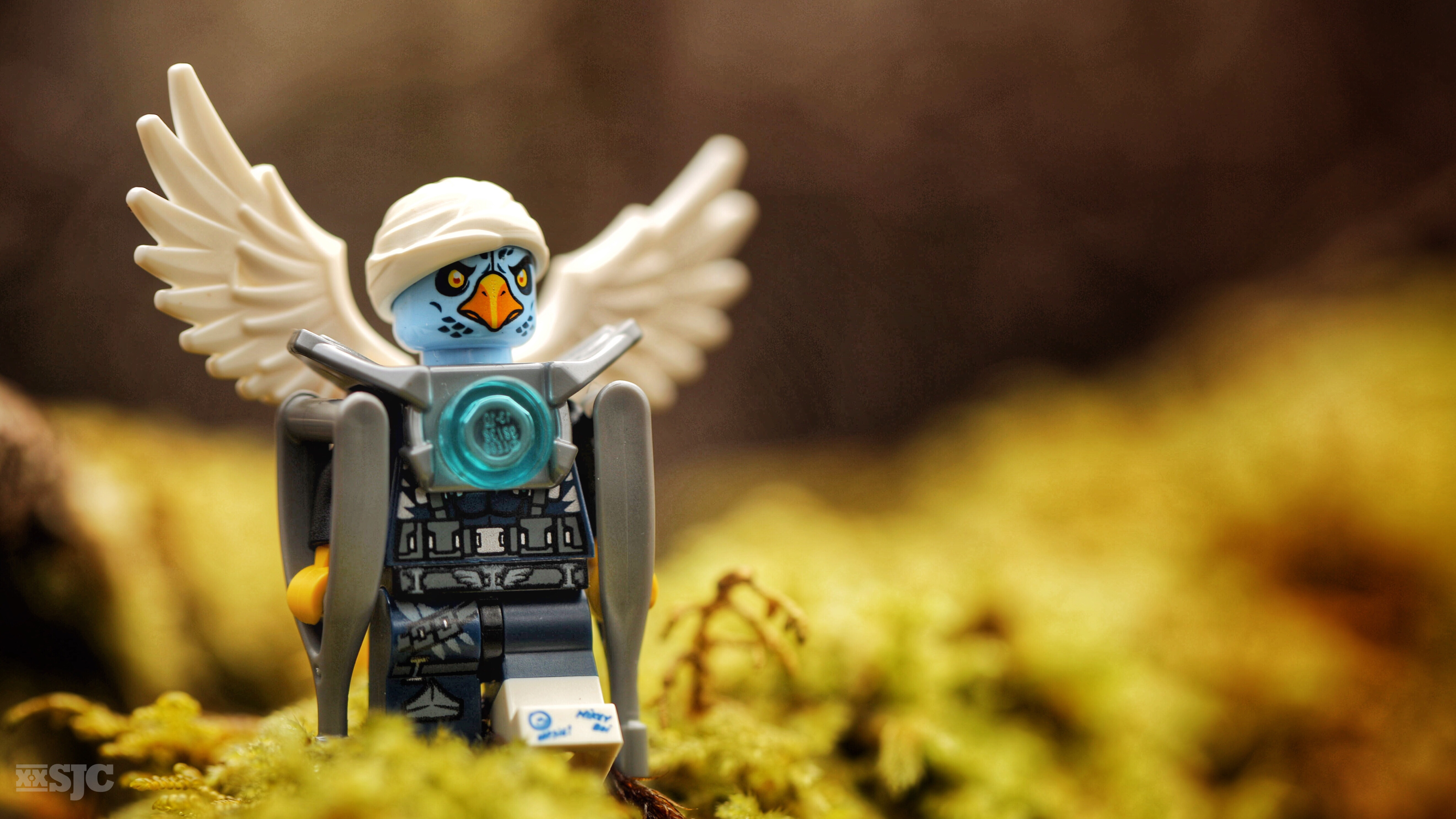 A LEGO Chima bird stands with the help of crutches on a mossy branch. His head is bandaged and his foot is in a cast.