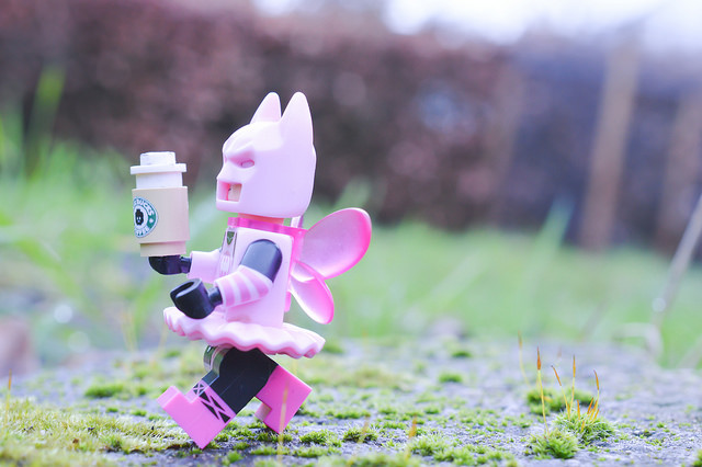 Fairy Batman with coffee