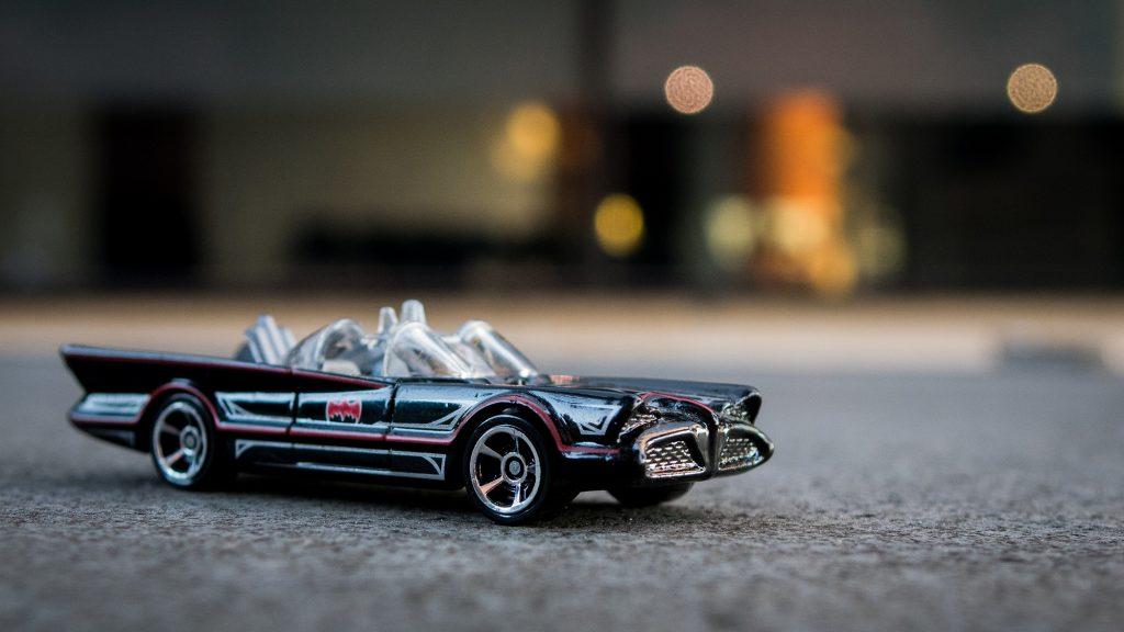 Toy photography of the Batmobile