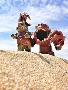 LEGO Gartogg and Rancor on the sand