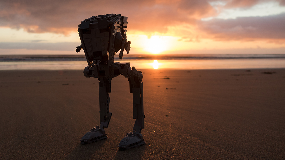 """sunrise vs. sunset"" : AS-AT Lego on the beach at dawn"
