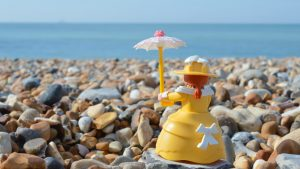 Playmobil lady at the beach