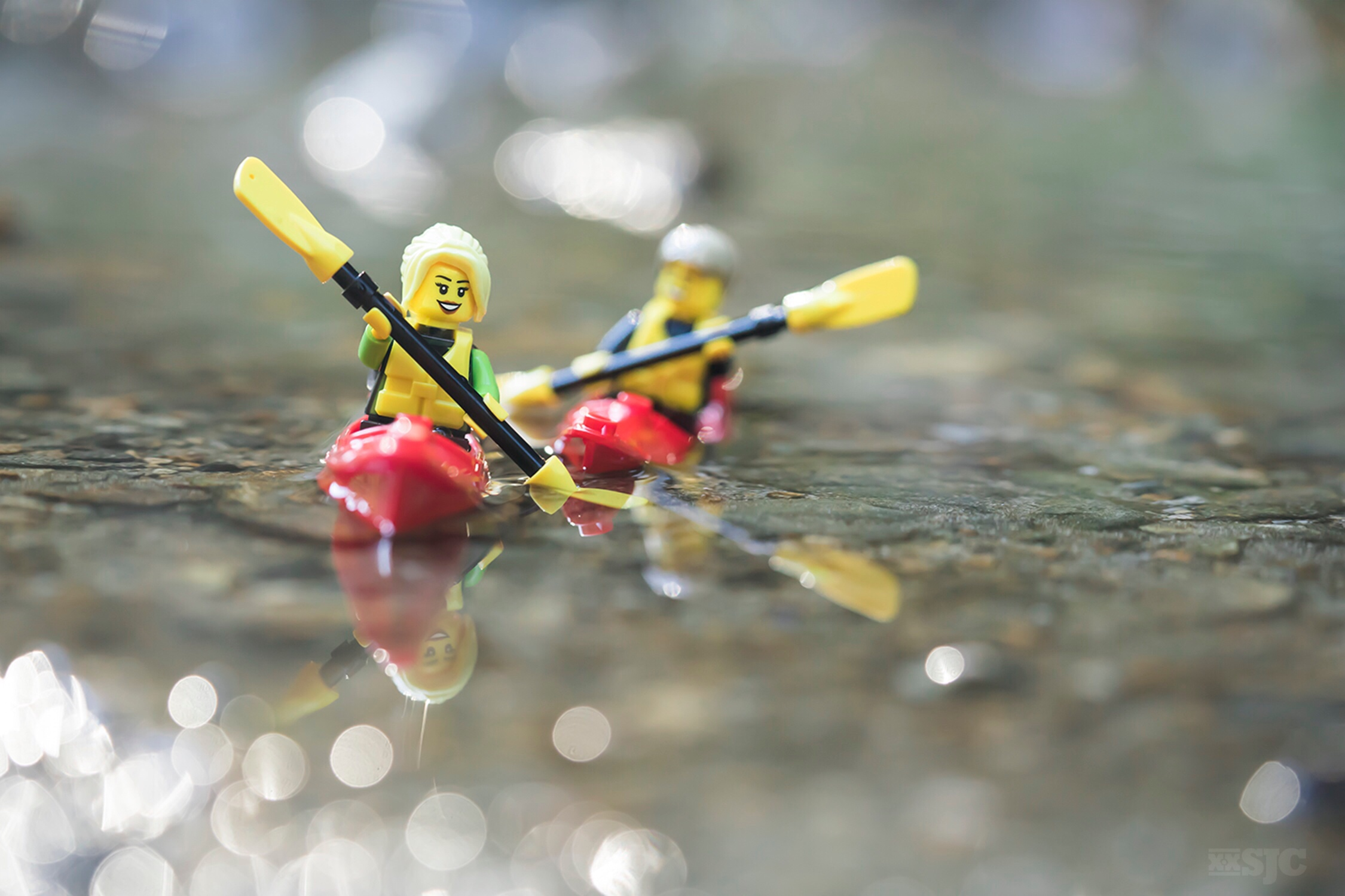 Two LEGO minifigures kayaking photo by Shelly Corbett