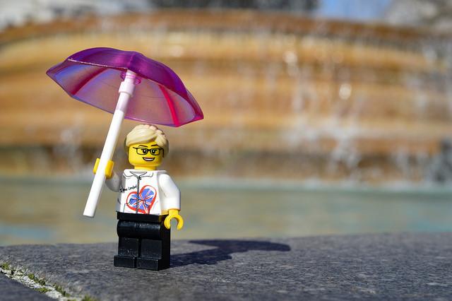 LEGO figure in London with umbrella