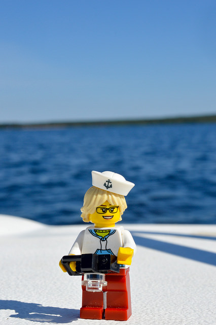LEGO figure on a boat