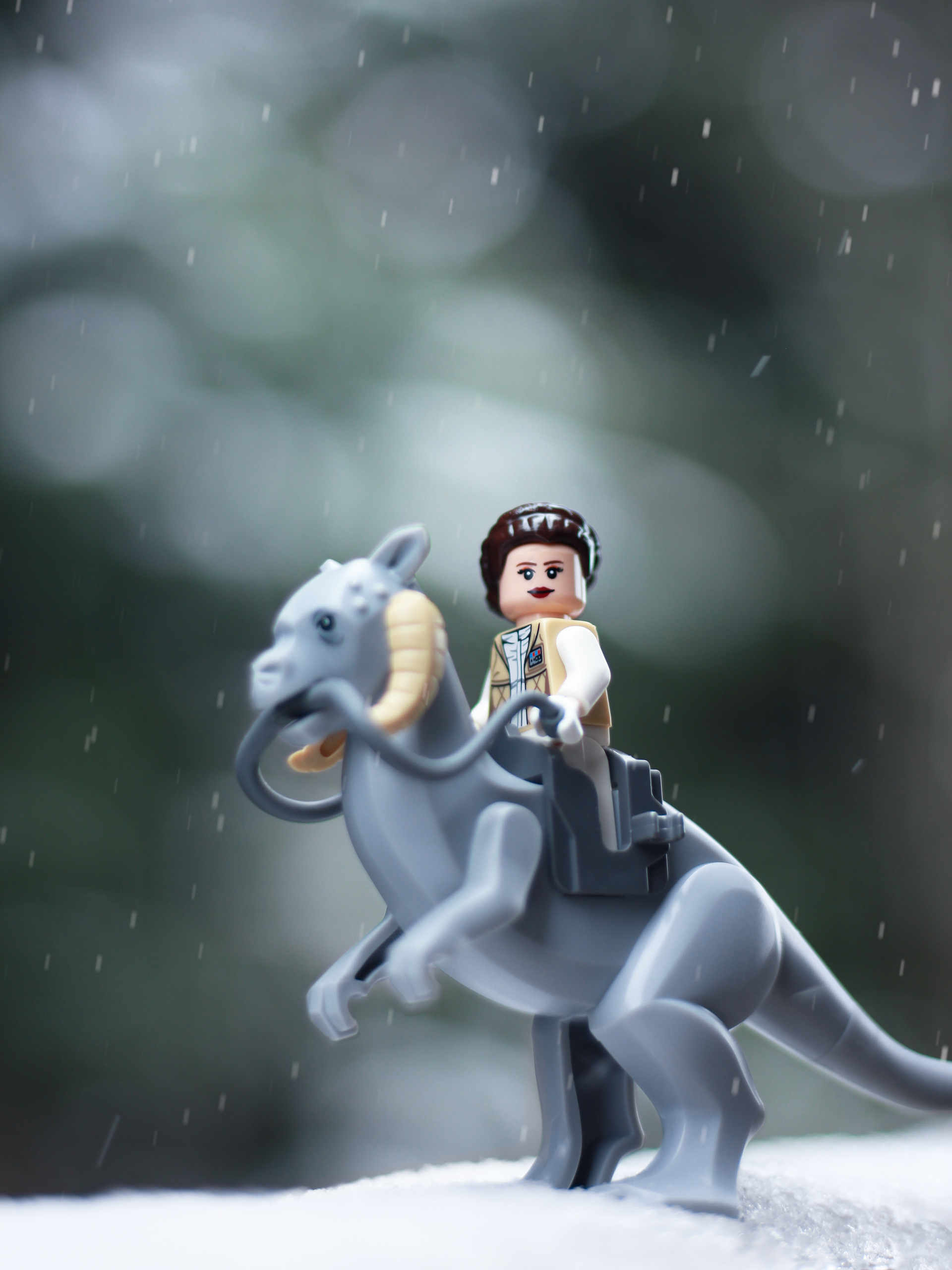 lego star wars princess leia riding a tauntaun in the snow