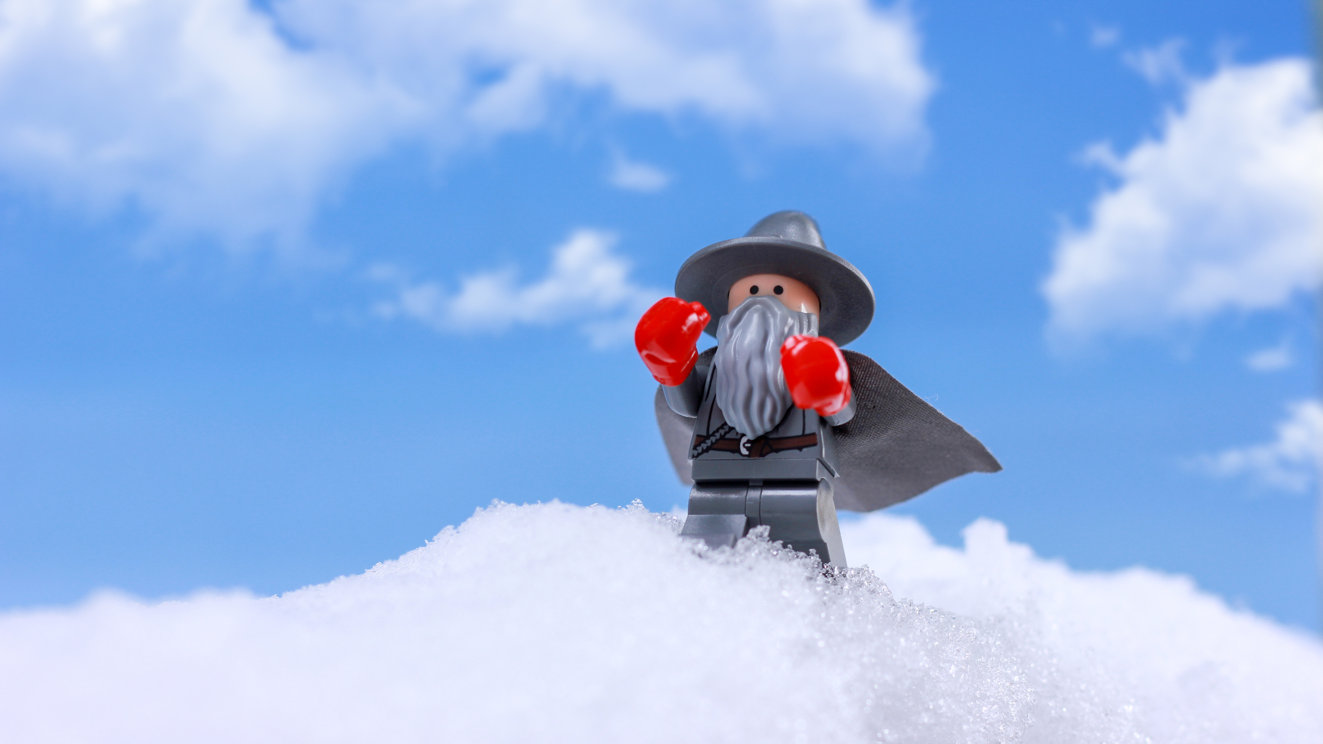 lego gandalf lord of the rings boxing gloves snow by james garcia