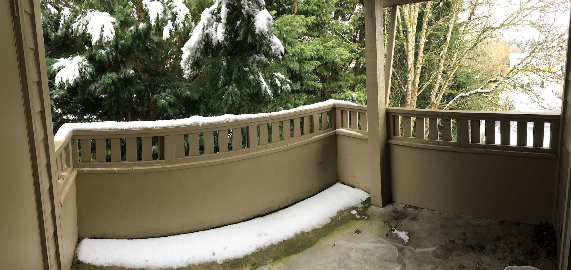 snow patio pacific northwest