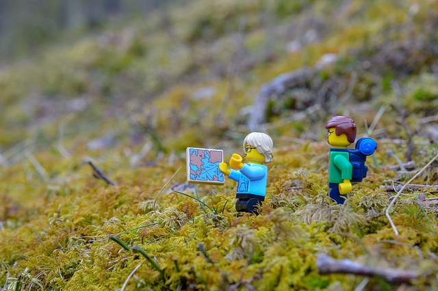 LEGO figures hiking in the Lake District
