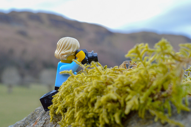 LEGO minifigure taking photos in the Lake District