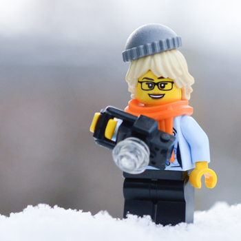 LEGO figure with a camera