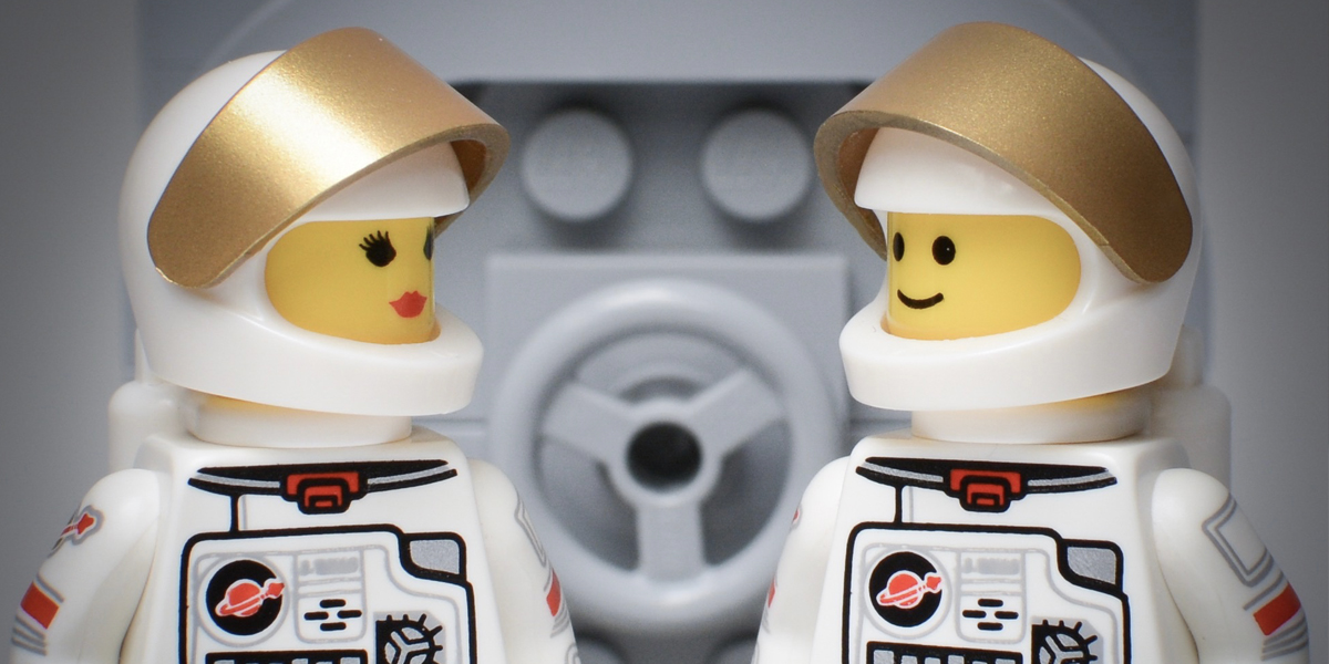 Two LEGO astronauts in space