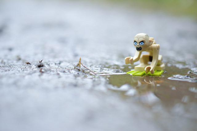 LEGO Gollum in muddy puddle