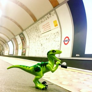 LEGO dinosaur on the London Underground