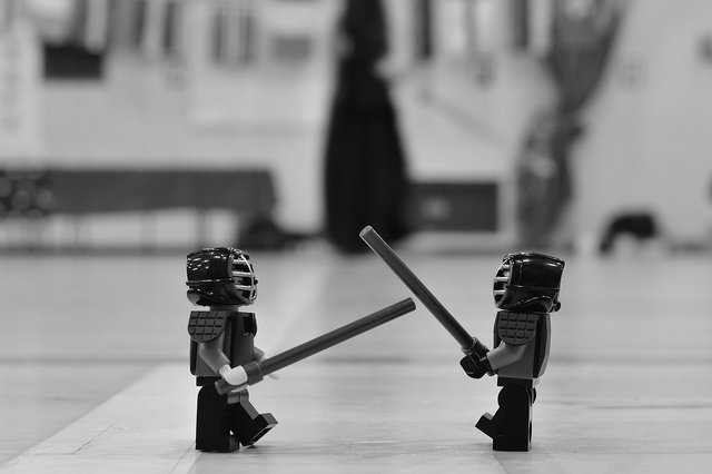 LEGO Kendo figures fighting at a competition