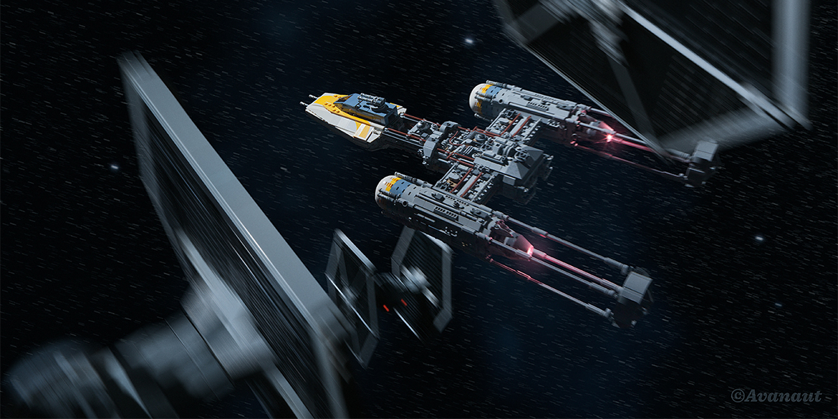 LEGO UCS Y-Wing flying through space flanked by two blurry TIE fighters by Avanaut