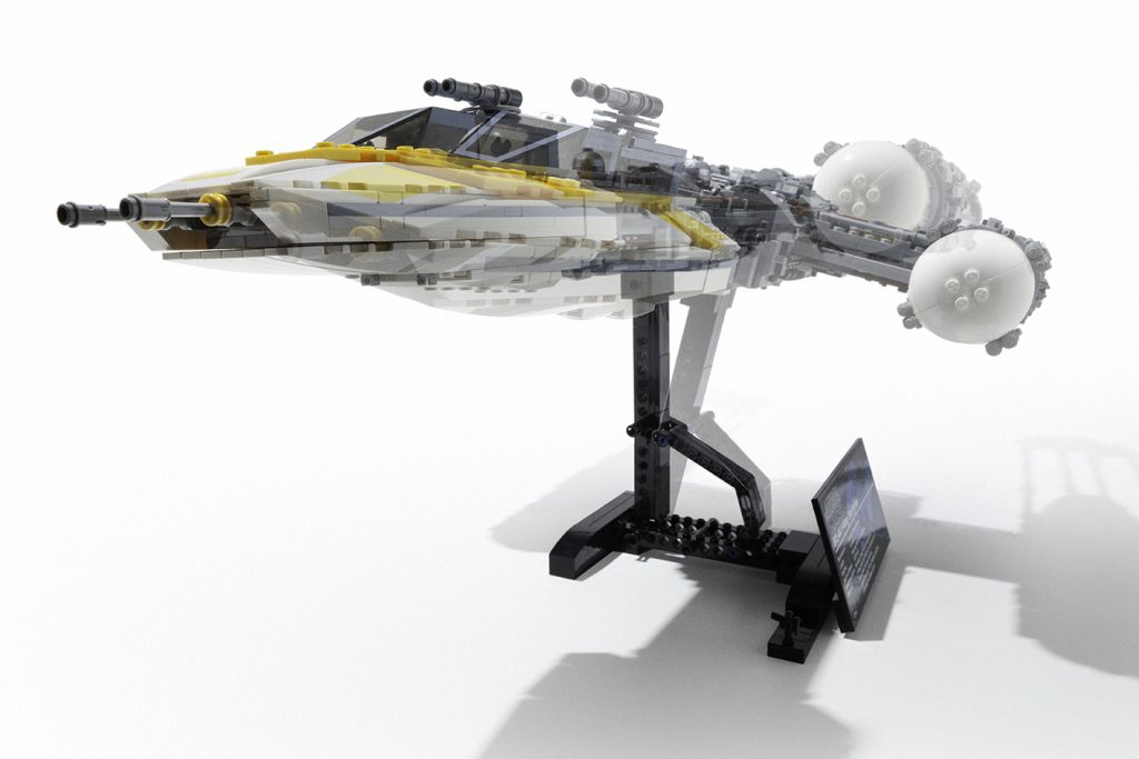 Front view of LEGO UCS Y-wing on display stand by Avanaut