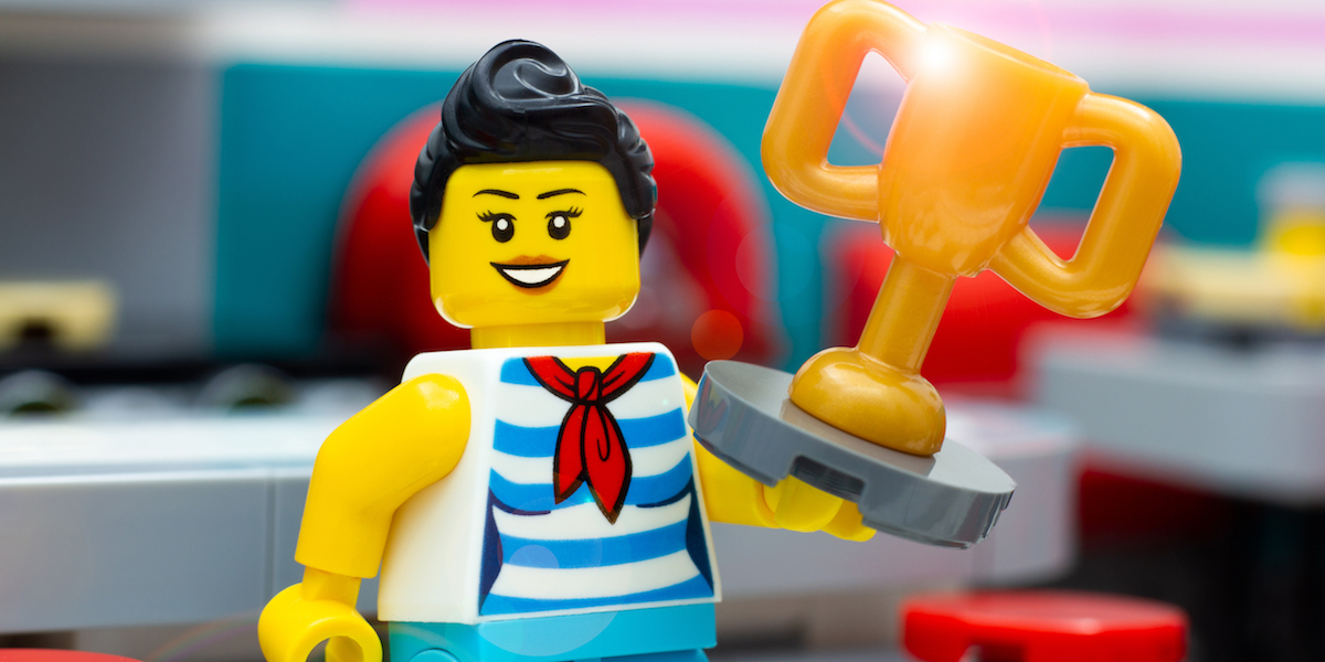 LEGO Downtown Diner waitress with trophy by James Garcia