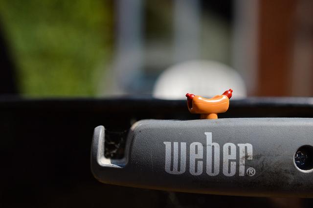 LEGO hot dog on Weber BBQ
