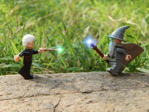 LEGO Grindelwald verses Gandalf by Demarcation Media