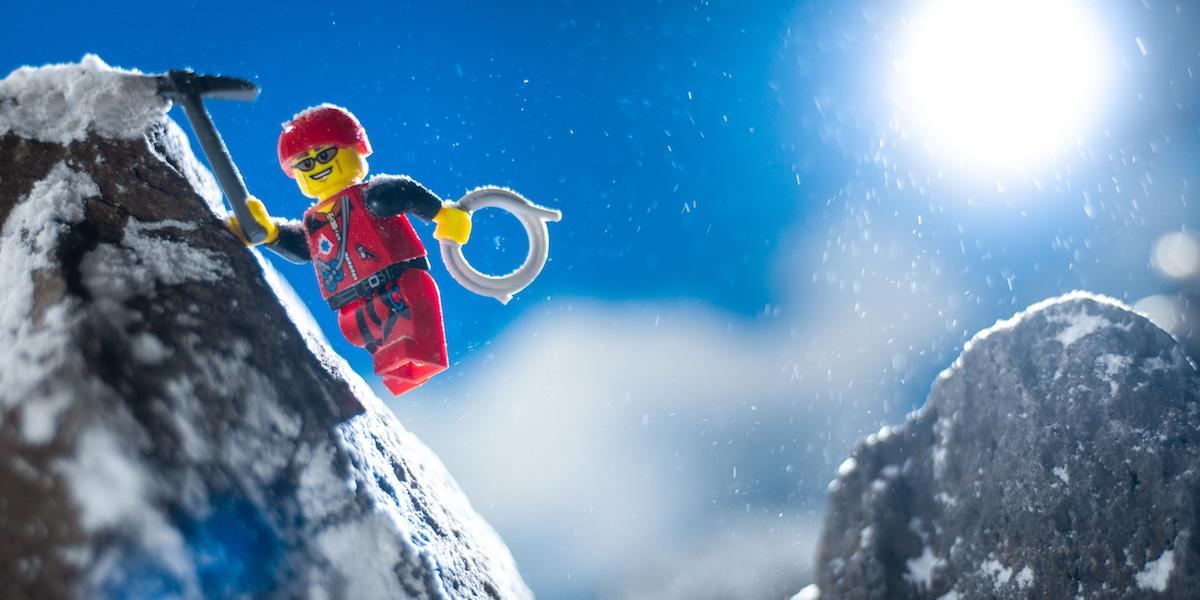 lego mountain climber minifigure toy photography by James Garcia